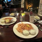 Delicious fried haddock dinner