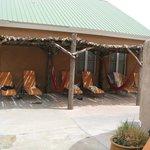 Shade lounge chair area with hammocks