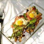 "Grilled Asparagus ""Tartines"" Jamon Serrano, Fried Quail Eggs, Queso Manchego"