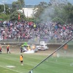 stockcar on fire