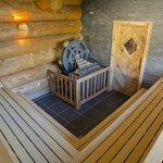 Blockhaus- Sauna mit Mühlenofen