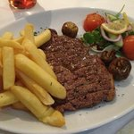 Sirloin - Cooked to perfection, hot and tasty!