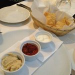 Complimentary Crisps and selection of dips - so tasty.