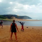 beach day - playing volleyball with local kids