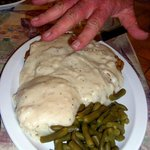 Chicken Fried Steak as big as out stretched hand