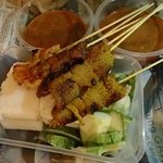 chicken and tripe satay with two sets of compressed rice