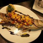 Char Grilled Sea Bass with Tomato and Mango Salsa