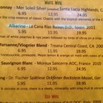 sample of their wine list: I will recommend the Marsanne wine