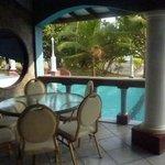 Dining area around pool