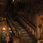 The stairs in the main lobby. Everything was rich wood. Beautiful!