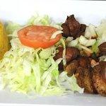 Carne Frita con Pico de Gallo, Mofongo de Platanos y Ensalda