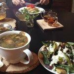 Yummy soup, salad, tea, and whiskey.