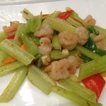 hotel dining restaurant. Prawns with fresh vegetables