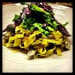 Daily Pasta Example - Fettuccine, hazelnut pesto, bacon, Gorgonzola