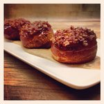 Example Feature - Brioche doughnuts, apple caramel, bacon sprinkles, brown butter apple purée.