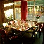 The sun shining through our restaurant