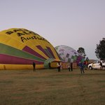 Inflating the Balloons before boarding