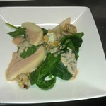 Baby spinach salad with sweet gorgonzola cheese & pear