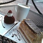A coffee and 2 desserts.  Many more to try