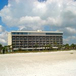 Beach view of the hotel.