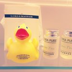 Cute little rubber ducky and very nice shampoo, conditioner, and lotion