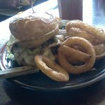 Toadzilla Burger with Onion Rings