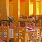 The cheery interior offers great views of the Bay of Banderas
