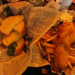 Two piece fish and chips, side order of garlic bread