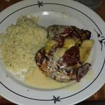 Stuffed Chicken with scampi rice