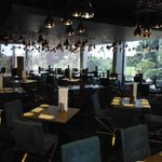 One of the resturants with a festoon of lights