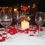 cena romantica con velas...