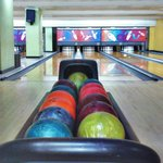 Bowling lane and the colorful balls