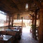 Shadey rooftop breakfast area