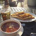 Maryland Crab Soup, fries, and beer