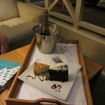 a nice surprise of cake and champagne left in our room