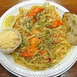 Lobster Scampi with linguini, crusty bread and parmesan. Perfect!