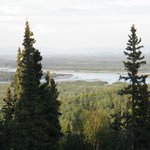 view of the Chena River from the caboose