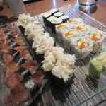 Mushroom nigiri, jumbo lump crab sushi, cucumber roll, California roll