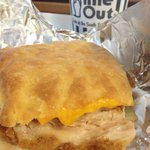 The cheddar and chicken biscuit.