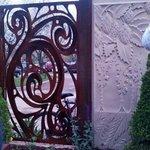 Neat concrete hops & scroll work in the outdoor beer garden