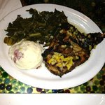 Half baked chicken, mashed red bliss and greens