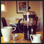 French press coffee that you get to press yourself at your table.