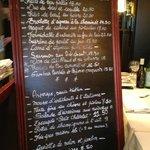 The carte (menu) at Le Petit Chatelet