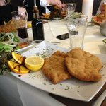 schnitzel for one - as usual  the spare taken home in a doggy bag!