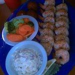 Jerked Shrimp Dinner with 2 sides Baked Potato Salad &