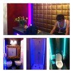 Reception and bathroom