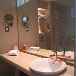 bathroom mirror and sink area