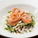 Starters include Hot Smoked Salmon salad