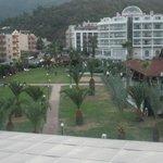 veiw of gardens from terrace bar