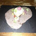 Smoked eel, chorizo jam, Devon crab salad